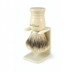 Edwin Jagger Imitation Ivory Super Badger Shaving Brush and Stand (Medium)