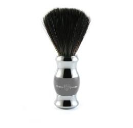Edwin Jagger Grey & Chrome Shaving Brush (Black Synthetic)