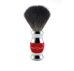 Edwin Jagger Red & Chrome Shaving Brush (Black Synthetic
