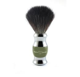 Edwin Jagger Green & Chrome Shaving Brush (Black Synthetic)