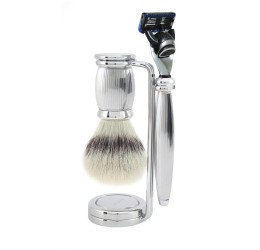 Edwin Jagger Bulbous Lined 3 Piece Fusion Set (Synthetic Silver Tip)