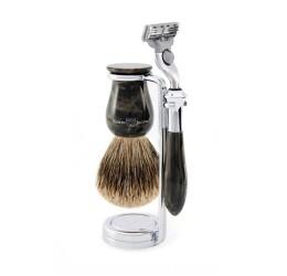 Edwin Jagger 3pc Plaza Imitation Black Marble set (Mach3) best badger
