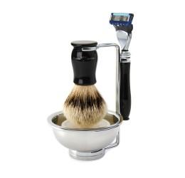 Edwin Jagger 4pc Chatsworth Ebony Shaving (Fusion) silver tip