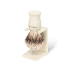 Edwin Jagger Imitation Ivory Super Badger Shaving Brush and Stand (Small)