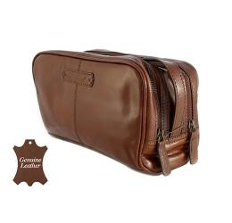 Ashwood Chelsea Gents Leather Wash Bag (Chestnut)