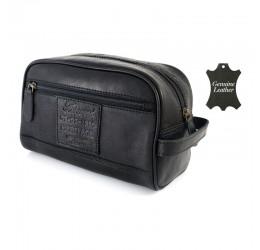 Ashwood Heritage Gents Leather Wash Bag (Black)