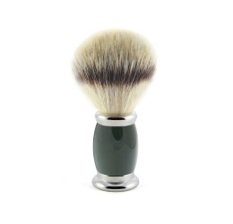 Edwin Jagger Bulbous Green Shaving Brush (Synthetic Silver Tip)