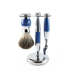 Edwin Jagger 3pc Blue & Chrome shaving set (Fusion)