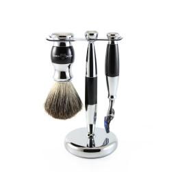 Edwin Jagger 3pc Imitation Ebony & Chrome shaving set (Fusion)