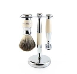 Edwin Jagger 3pc Imitation Ivory & Chrome shaving set (DE)