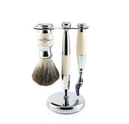 Edwin Jagger 3pc Imitation Ivory & Chrome shaving set (Fusion)