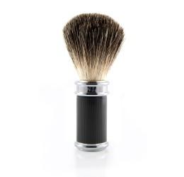 Edwin Jagger Black Rubber Coated Shaving Brush (Pure Badger)