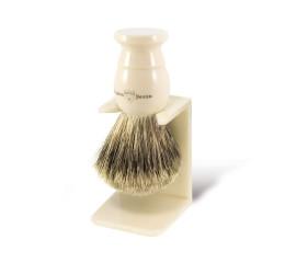 Edwin Jagger Imitation Ivory Best Badger Shaving Brush With Stand
