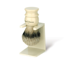 Edwin Jagger Imitation Ivory Silver Tip Shaving Brush with Stand