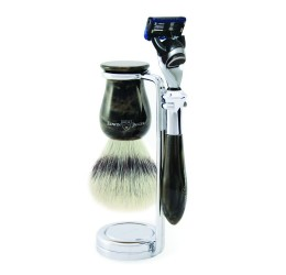 Edwin Jagger Plaza Imitation Marble 3 Piece Fusion Set (Synthetic Silver Tip)