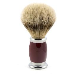 Edwin Jagger Red Bulbous Shaving Brush (Silver Tip Badger)