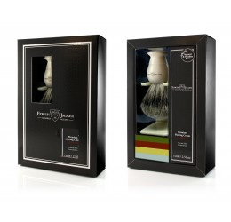 Edwin Jagger Imitation Ivory Shaving Brush and Cream Gift Set - Sandalwood