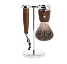 Muhle Rytmo Steamed Ash Mach3 and Pure Badger 3 Piece Set