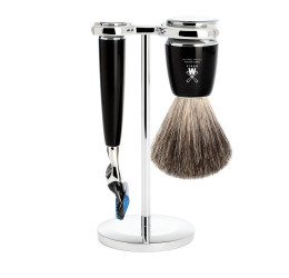 Muhle Rytmo High-Grade Black Resin Fusion and Pure Badger 3 Piece Set
