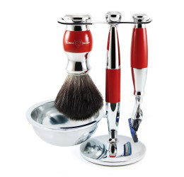Edwin Jagger Red & Chrome 4 Piece Fusion Set (Black Synthetic)