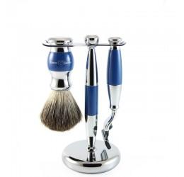 Edwin Jagger 3pc Blue & Chrome shaving set (Mach 3)