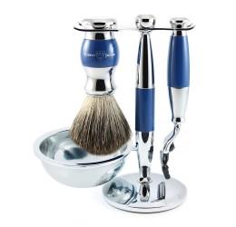 Edwin Jagger Blue & Chrome 4 Piece Mach3 Set (Pure Badger)