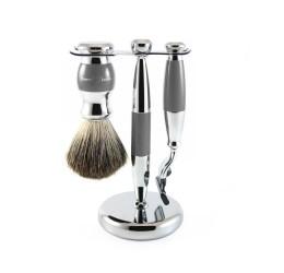 Edwin Jagger 3pc Grey & Chrome shaving set (Mach 3)