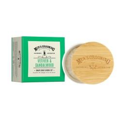 Scottish Fine Soaps Vetiver & Sandalwood Shave Soap & Bowl 100g